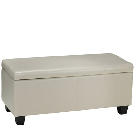 Image of Cortesi Home Vera Storage Ottoman in Cream Leather like Vinyl