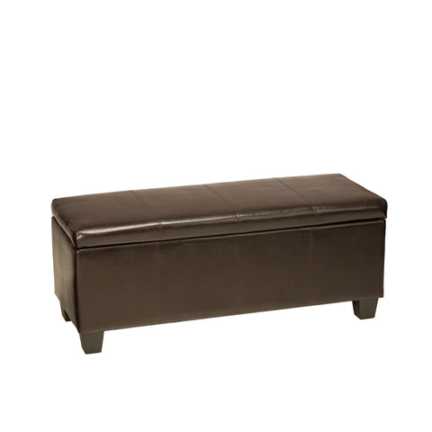 Image of Cortesi Home Nives Espresso Brown Long Storage Ottoman Bench