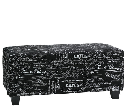 Image of Cortesi Home Mamet Black Script Fabric Storage Ottoman Long Bench