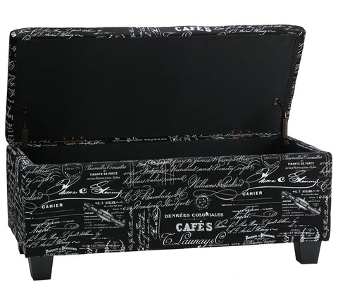 Cortesi Home Mamet Black Script Fabric Storage Ottoman Long Bench