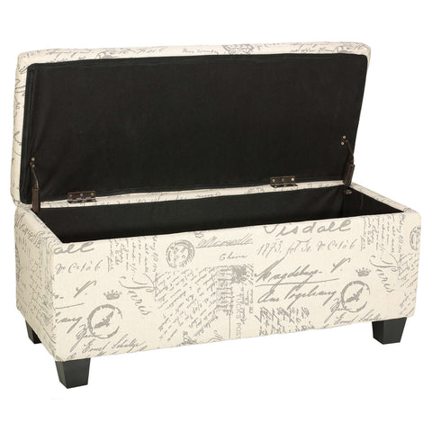 Image of Cortesi Home Fitzgerald Script Fabric Storage Ottoman Long Bench