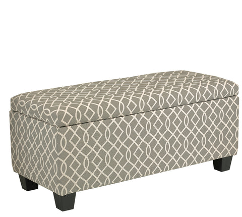 Image of Cortesi Home Kiki Upholstered Storage Ottoman, Grey Pattern