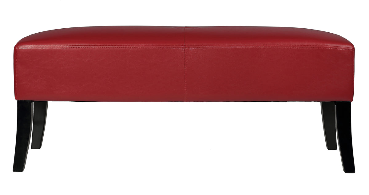 Cortesi Home Jasper Crimson Red Faux Leather Bench Ottoman