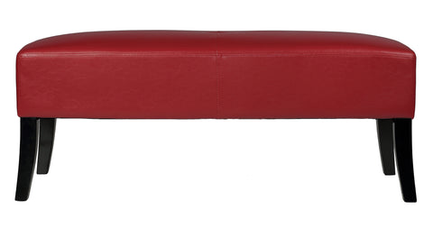 Image of Cortesi Home Jasper Crimson Red Faux Leather Bench Ottoman