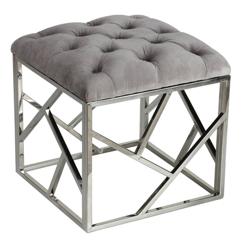 Image of Cortesi Home Kora Contemporary Metal Cube, Grey