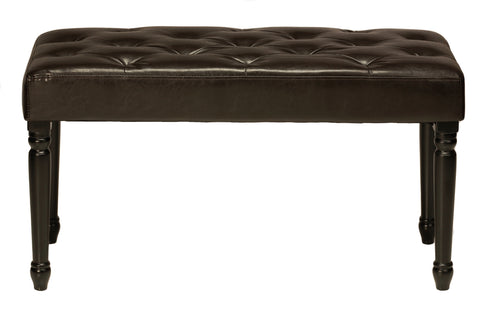 Image of Cortesi Home Franz Espresso Brown Tufted Ottoman Piano Bench