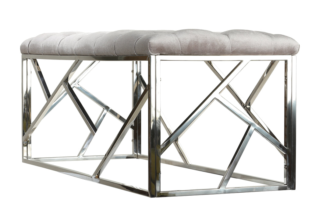 Cortesi Home Kora Long Contemporary Metal Bench Ottoman in Grey Velvet, 43x17x18