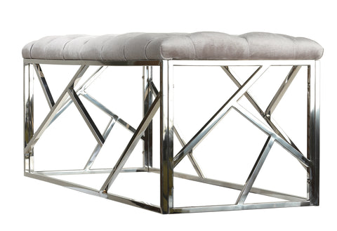 Image of Cortesi Home Kora Long Contemporary Metal Bench Ottoman in Grey Velvet, 43x17x18