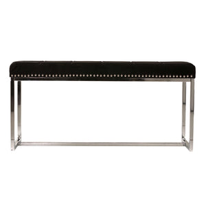 Cortesi Home Donato Contemporary Narrow Bench in Black Velvet with Nailhead Trim