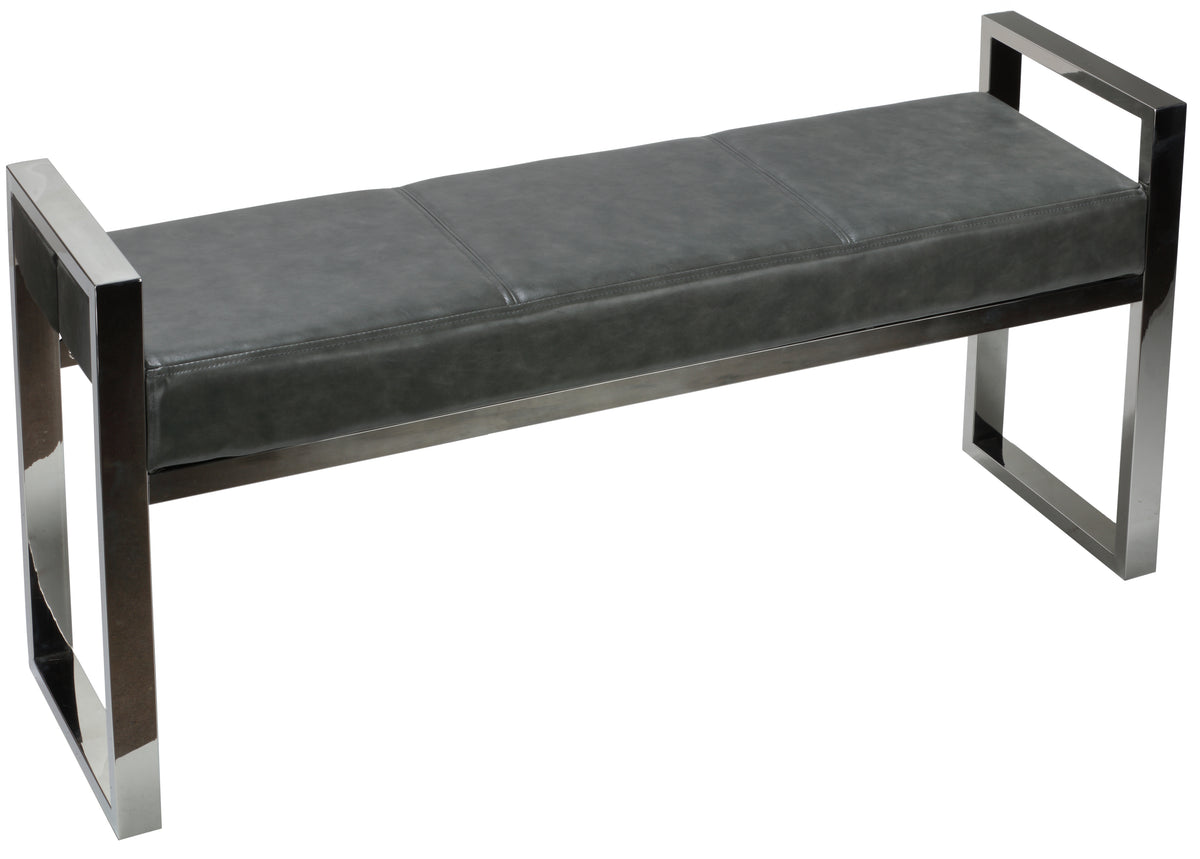 Cortesi Home Holden Contemporary Chrome Metal Entryway Bench, Antique Grey