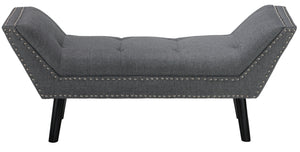 Cortesi Home Herman Ottoman Bench in Gray Fabric with Nailhead Trim