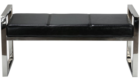 Cortesi Home Holden Contemporary Metal Entryway Bench, Black faux Leather