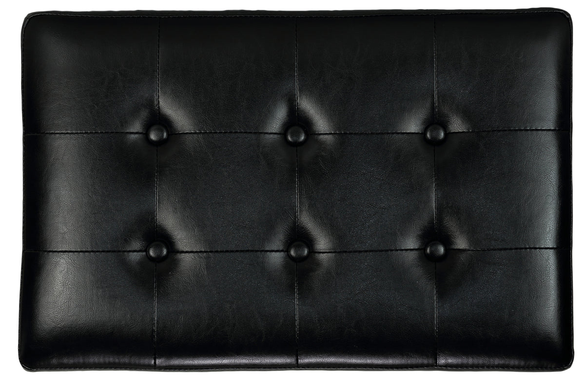 Cortesi Home Kayla Black Traditional X Bench Ottoman in Vinyl with Nailhead Trim