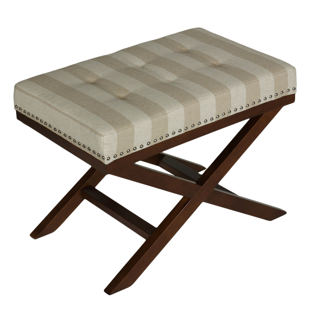 Cortesi Home Kayla Traditional X Bench Ottoman in Linen with Nailhead Trim, Sandy Beach Stripes