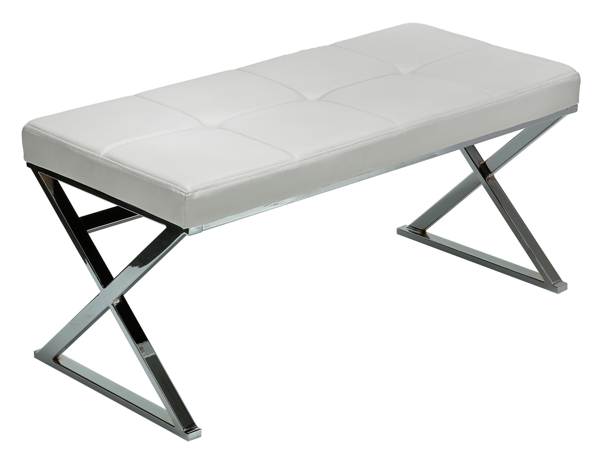 Cortesi Home Zio Contemporary Metal Entryway X- Bench in Leather like Vinyl, White
