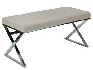 Cortesi Home Zio Contemporary Metal Entryway X- Bench in Beige Linen Fabric