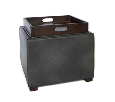 Image of Cortesi Home Mavi Grey Wood Top Tray Storage Cube Ottoman in Bonded Leather