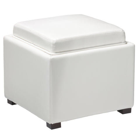Cortesi Home Mavi Snow White Storage Tray Ottoman in Bonded Leather