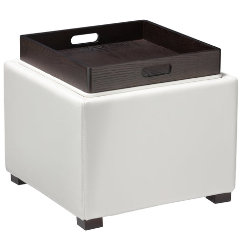 Image of Cortesi Home Mavi Snow White Storage Tray Ottoman in Bonded Leather