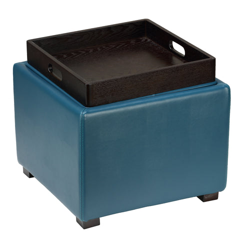 Cortesi Home Mavi Storage Tray Ottoman in Bonded Leather, Deep Turquoise Blue