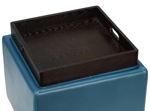 Image of Cortesi Home Mavi Storage Tray Ottoman in Bonded Leather, Deep Turquoise Blue