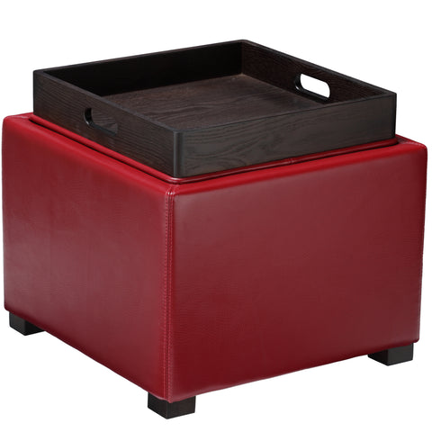 Image of Cortesi Home Mavi Storage Tray Ottoman in Bonded Leather, Red