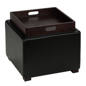 Cortesi Home Mavi Black Storage Tray Ottoman in Bonded Leather