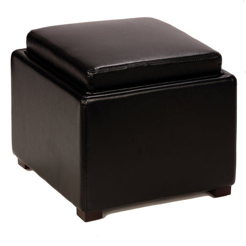 Image of Cortesi Home Mavi Black Storage Tray Ottoman in Bonded Leather