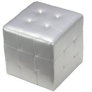 Cortesi Home Apollo Cube Ottoman in Metallic Silver Faux Leather