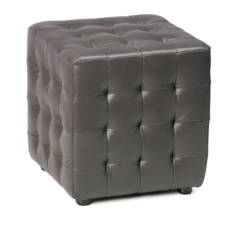 Cortesi Home Izzo Tufted Cube Ottoman in Gunmetal Gray Bonded Leather