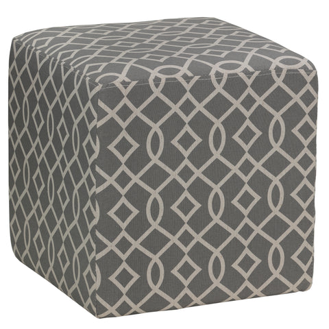Cortesi Home Braque Grey Cube Ottoman in Linen Fabric