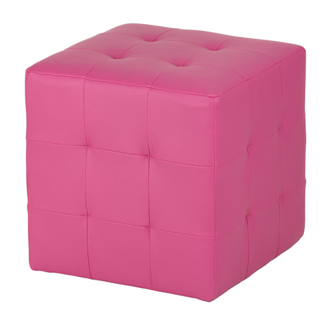 Cortesi Home Braque Pink Tufted Cube Ottoman in Leather Like Vinyl