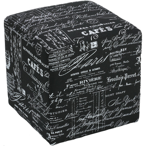 Image of Cortesi Home Braque Cube Ottoman in Black Script Print Linen Fabic