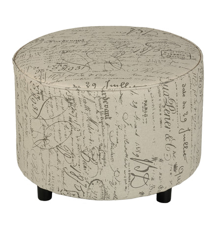Cortesi Home Shakespeare Medium Size Round Ottoman with Beige Script Fabric