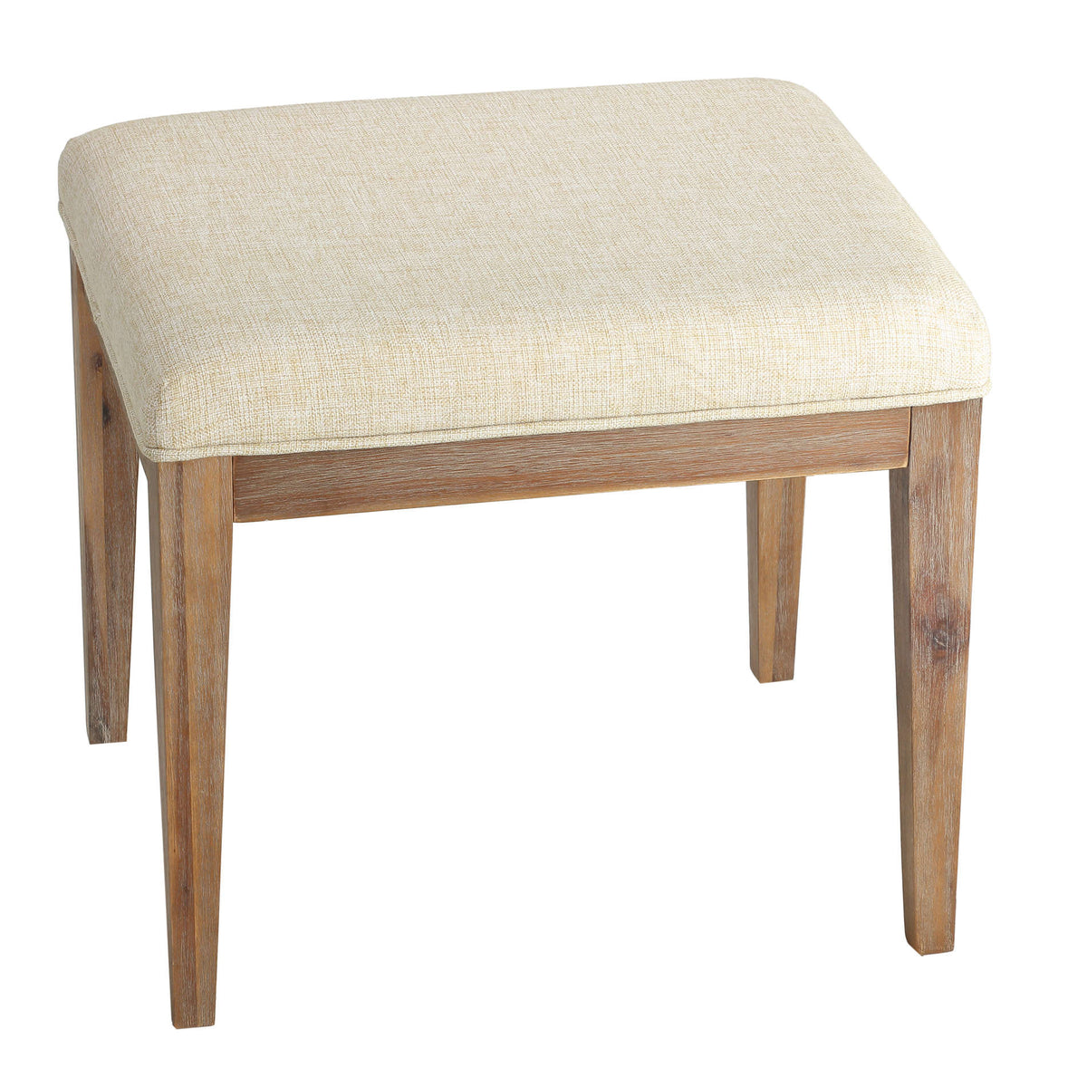 "Cortesi Home Onel Vanity Bench with Neutral Linen Fabric, 20"" Wide"