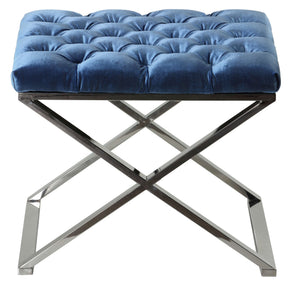 Cortesi Home Mariana Tufted Metal Ottoman, Blue, 21