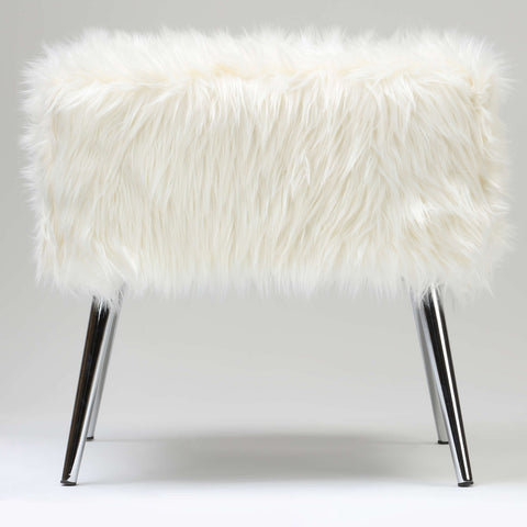 Cortesi Home Olivia White Faux Fur Ottoman, 20""