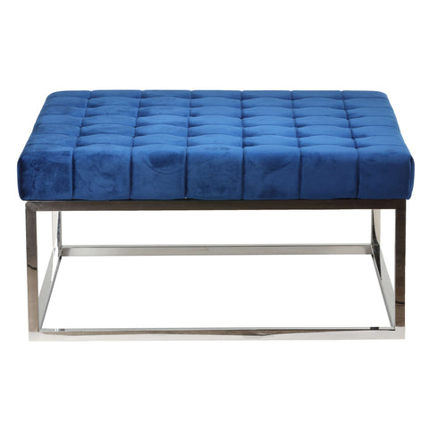 Cortesi Home Caroline Tufted Velvet Ottoman, Blue