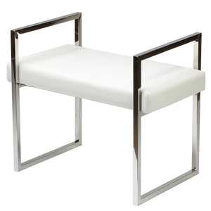 Cortesi Home Anna Contemporary Vinyl Bench, White