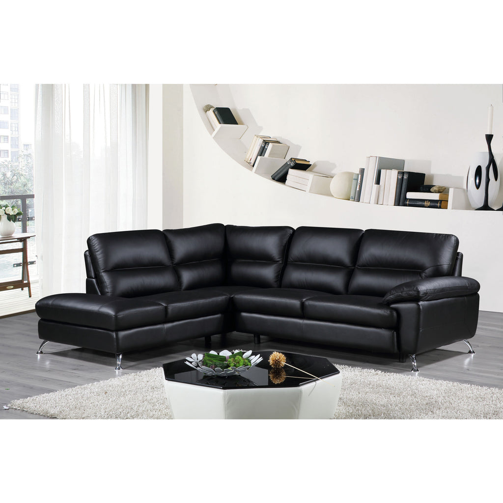 Cortesi Home Contemporary Boston Genuine Leather Sectional Sofa with Left  Chaise Lounge, Black 80\