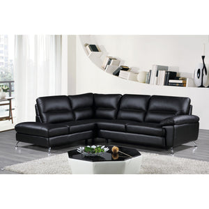 "Cortesi Home Contemporary Boston Genuine Leather Sectional Sofa with Left Chaise Lounge, Black 80""x98"""