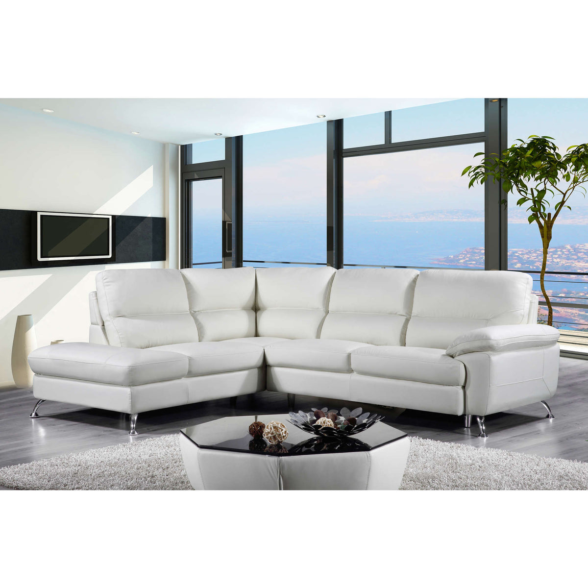 "Cortesi Home Contemporary  Miami Genuine Leather Sectional Sofa with Left Facing Chaise Lounge, Cream 80""x98"""