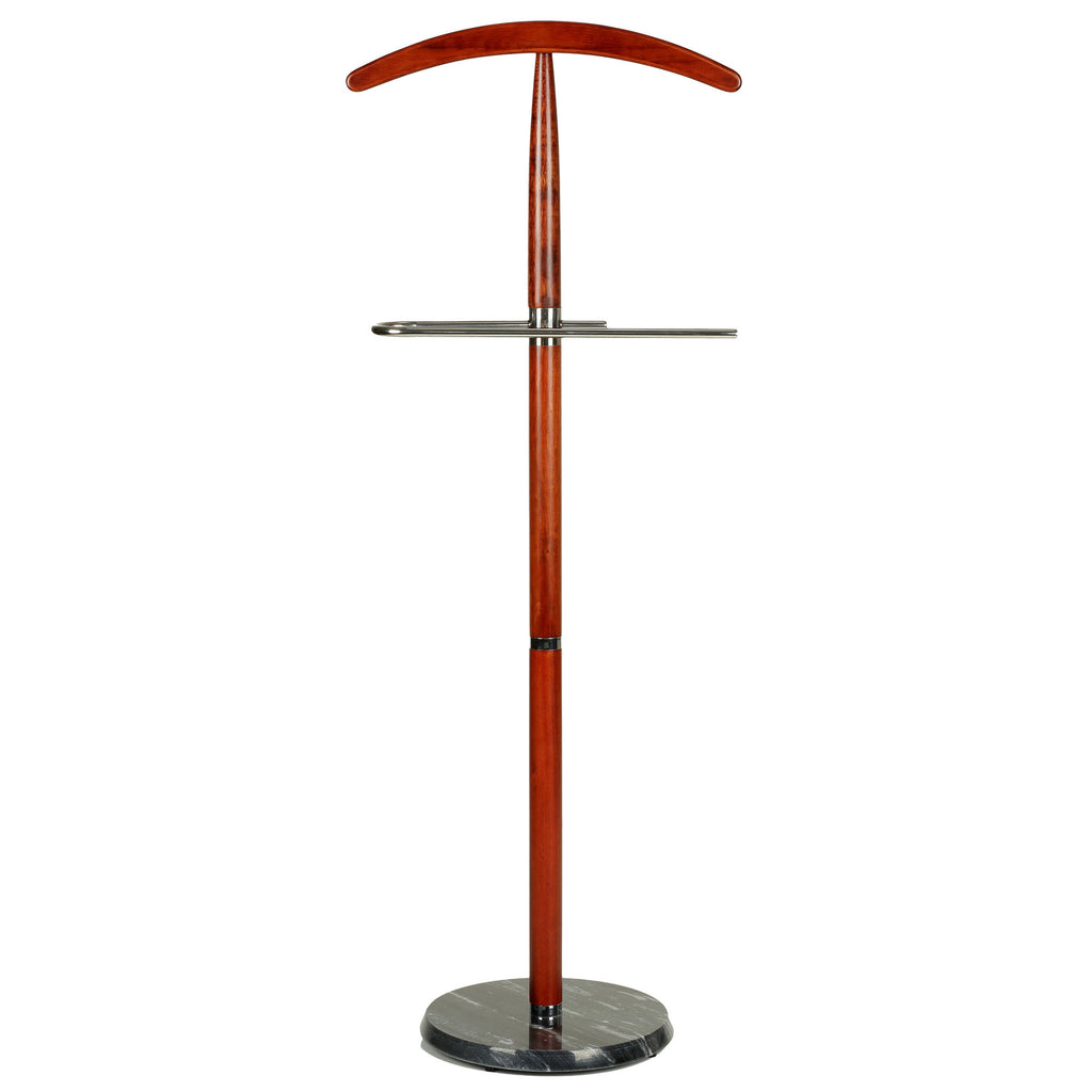 Cortesi Home Cambridge Suit Valet Stand in Cherry Wood with Marble Base