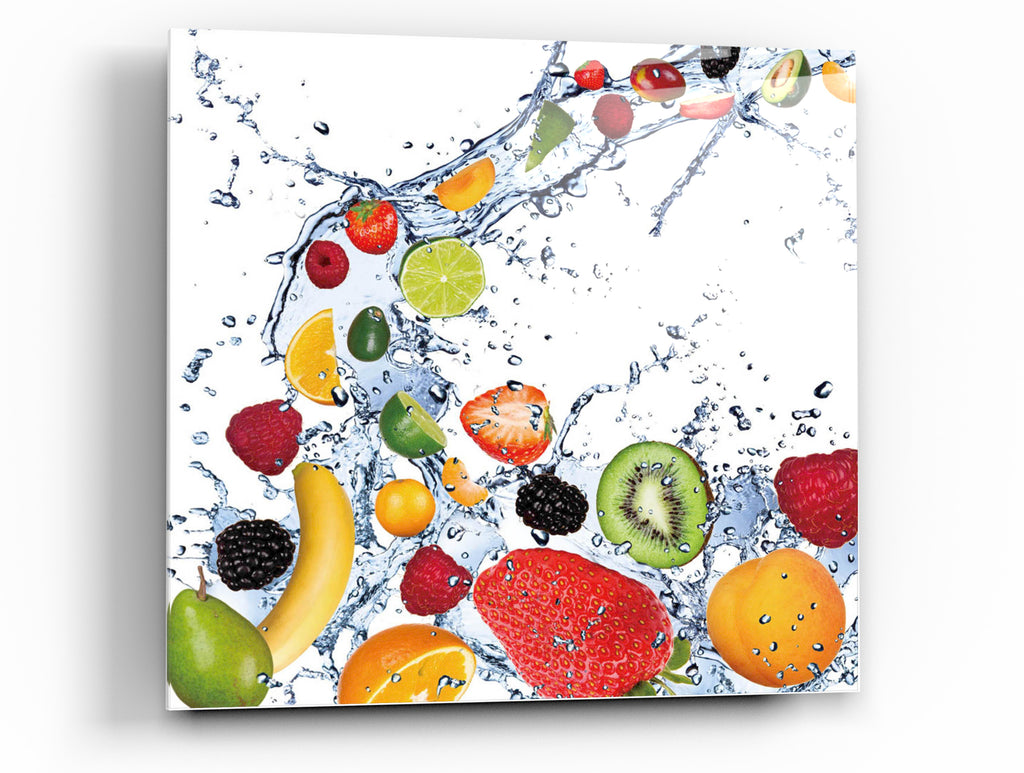 "Cortesi Home Fruit Splash II Tempered Glass Wall Art, 12"" x 12"""