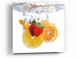 "Cortesi Home Fruit Splash I Tempered Glass Wall Art, 12"" x 12"""