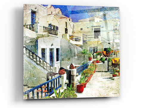 "Cortesi Home Santorini I Tempered Glass Wall Art, 12"" x 12"""