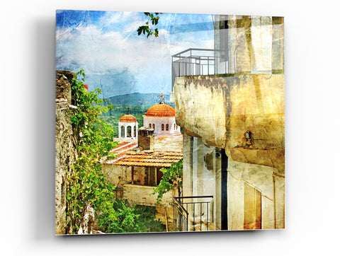 "Image of Cortesi Home Santorini II Tempered Glass Wall Art, 12"" x 12"""