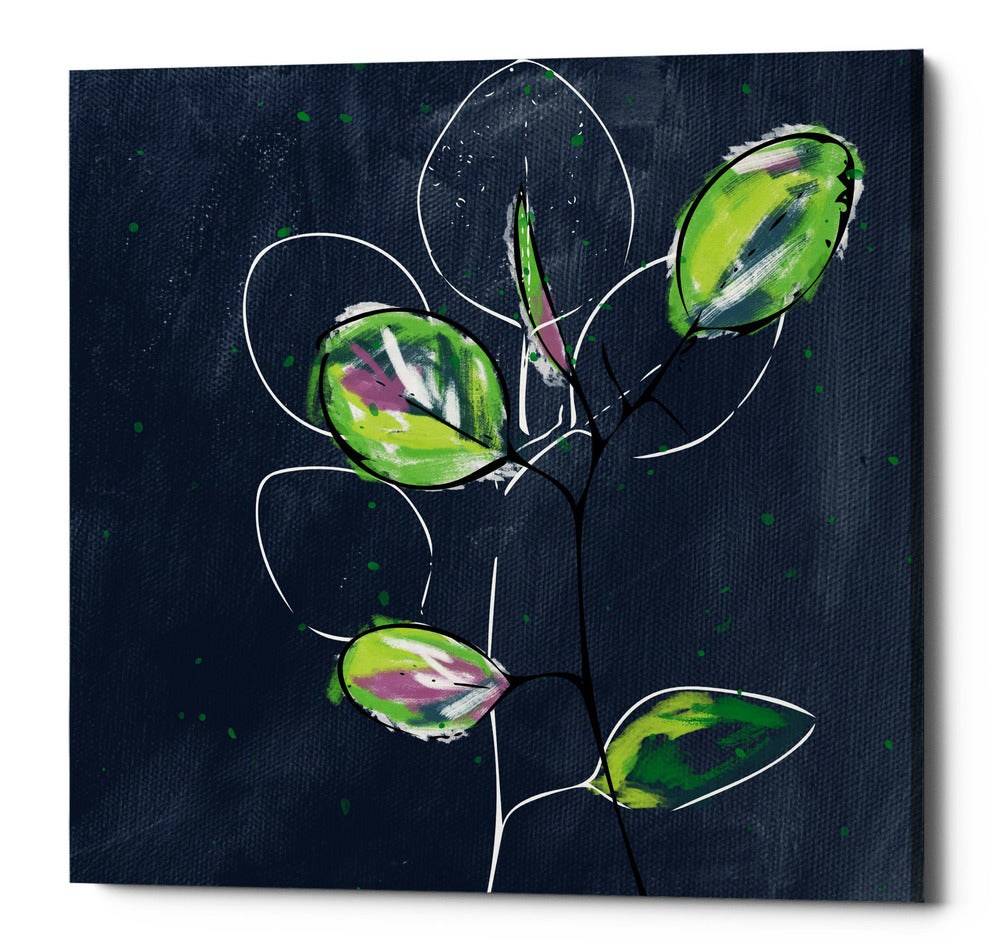 "Epic Graffiti ""Eucalyptus on Blue"" by Linda Woods, Giclee Canvas Wall Art, 12""x12"""
