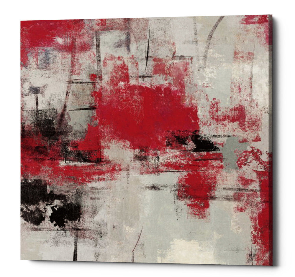 "Epic Graffiti ""Stone Gardens III Red"" by Silvia Vassileva, Giclee Canvas Wall Art, 12""x12"""