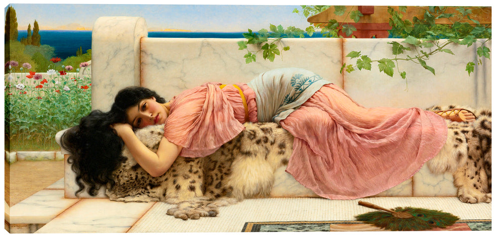 "Epic Graffiti ""When the Heart is Young"" by John William Godward Giclee Canvas Wall Art, 12"" x 26"""